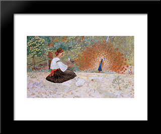 Tale Of A Girl And A Peacock: Modern Black Framed Art Print by Petro Kholodny (Elder)