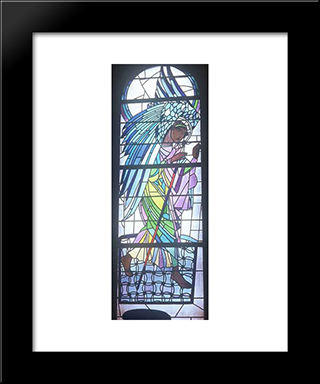 Walking Angel From The Triptych The Annunciation: Modern Black Framed Art Print by Petro Kholodny (Elder)