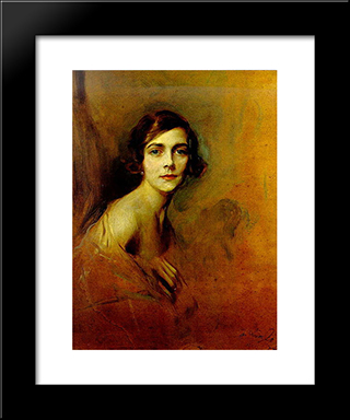 Edwina Mountbatten, Countess Mountbatten Of Burma: Modern Black Framed Art Print by Philip de Laszlo