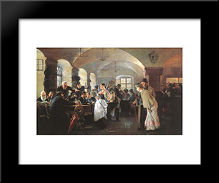 In The Brewery In Munich: Modern Black Framed Art Print by Philip de Laszlo