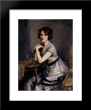 Portrait Of A Lady: Modern Black Framed Art Print by Philip de Laszlo