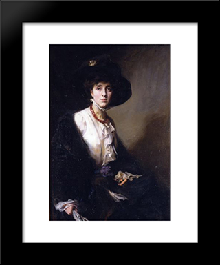 Portrait Of Vita Sackville-West: Modern Black Framed Art Print by Philip de Laszlo