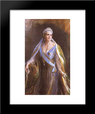 Queen Marie Of Romania: Modern Black Framed Art Print by Philip de Laszlo