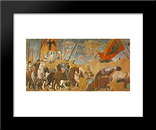 Battle Between Constantine And Maxentius: Modern Black Framed Art Print by Piero della Francesca
