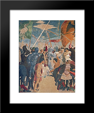 Battle Between Heraclius And Chosroes (Detail): Modern Black Framed Art Print by Piero della Francesca