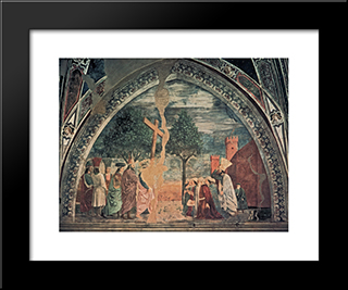Exaltation Of The Cross Heraclius Enters Jerusalem With The Cross: Modern Black Framed Art Print by Piero della Francesca