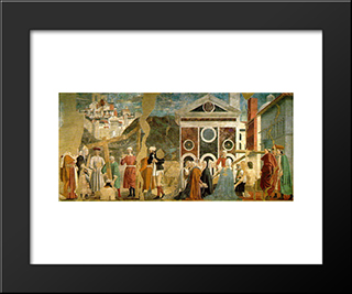 Finding And Recognition Of The True Cross: Modern Black Framed Art Print by Piero della Francesca