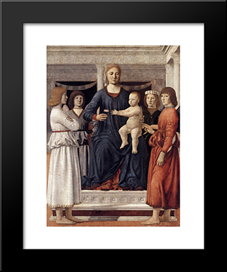 Madonna And Child Attended By Angels: Modern Black Framed Art Print by Piero della Francesca