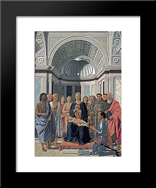 Madonna And Child With Saints: Modern Black Framed Art Print by Piero della Francesca
