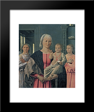 Madonna Of Senigallia With Child And Two Angels: Modern Black Framed Art Print by Piero della Francesca