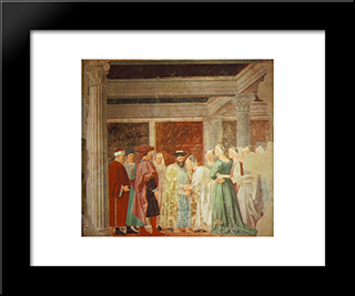 Meeting Between The Queen Of Sheba And King Solomon: Modern Black Framed Art Print by Piero della Francesca