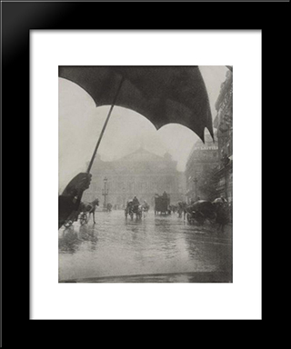 Opera, Rainy Day: Modern Black Framed Art Print by Pierre Dubreuil