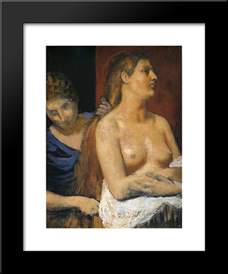 A Maid Combing A Woman'S Hair: Modern Black Framed Art Print by Pierre Puvis de Chavannes