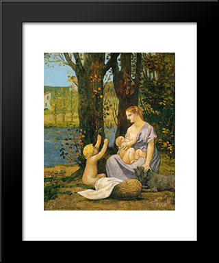 Allegory Of Charity: Modern Black Framed Art Print by Pierre Puvis de Chavannes