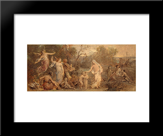 Allegory Of Life: Modern Black Framed Art Print by Pierre Puvis de Chavannes
