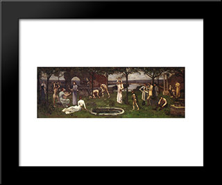 Between Art And Nature: Modern Black Framed Art Print by Pierre Puvis de Chavannes