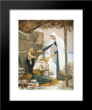 Charity: Modern Black Framed Art Print by Pierre Puvis de Chavannes