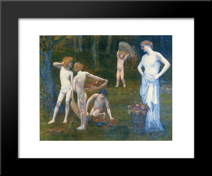 Children In An Orchard: Modern Black Framed Art Print by Pierre Puvis de Chavannes
