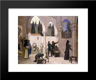 Christian Inspiration: Modern Black Framed Art Print by Pierre Puvis de Chavannes