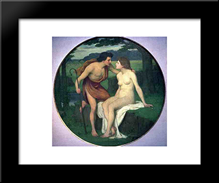 Daphnis And Chloe: Modern Black Framed Art Print by Pierre Puvis de Chavannes
