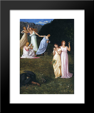 Death And The Maidens: Modern Black Framed Art Print by Pierre Puvis de Chavannes