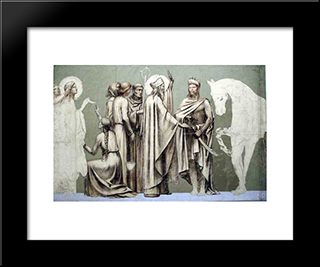 Fresco For The Decoration Of The Pantheon Saints: Modern Black Framed Art Print by Pierre Puvis de Chavannes