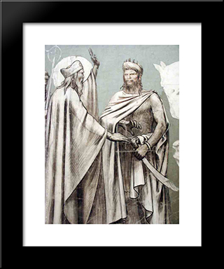 Fresco For The Decoration Of The Pantheon Saints (Detail): Modern Black Framed Art Print by Pierre Puvis de Chavannes