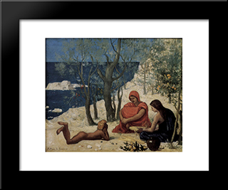 Greek Colony, Marseille: Modern Black Framed Art Print by Pierre Puvis de Chavannes