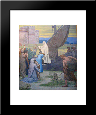 Life Of St. Genevieve: Modern Black Framed Art Print by Pierre Puvis de Chavannes