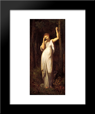 Meditation: Modern Black Framed Art Print by Pierre Puvis de Chavannes