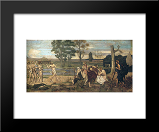 Patriotic Games: Modern Black Framed Art Print by Pierre Puvis de Chavannes