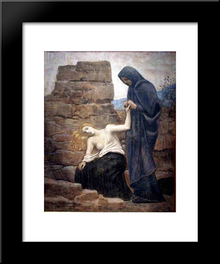 Pity: Modern Black Framed Art Print by Pierre Puvis de Chavannes