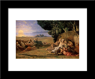 Sleeping: Modern Black Framed Art Print by Pierre Puvis de Chavannes