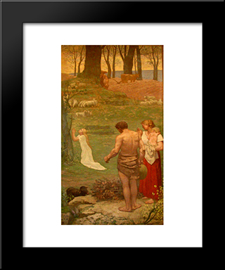 St. Genevieve As A Child In Prayer: Modern Black Framed Art Print by Pierre Puvis de Chavannes