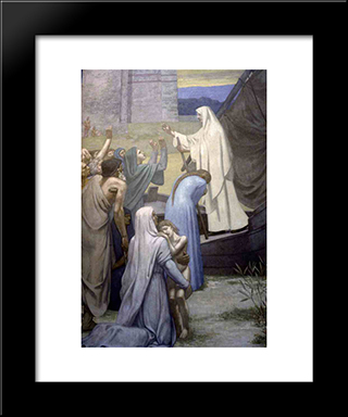 St. Genevieve Bringing Supplies To The City Of Paris After The Siege: Modern Black Framed Art Print by Pierre Puvis de Chavannes