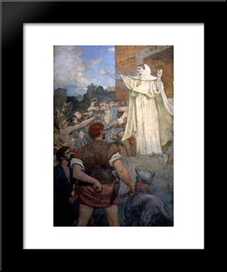 St. Genevieve Makes Confidence And Calm To Frightened Parisians Of The Approach Of Attila: Modern Black Framed Art Print by Pierre Puvis de Chavannes