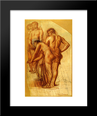 Study For Four Figures In Rest: Modern Black Framed Art Print by Pierre Puvis de Chavannes