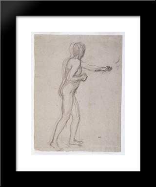 Study Of A Standing Male Nude: Modern Black Framed Art Print by Pierre Puvis de Chavannes
