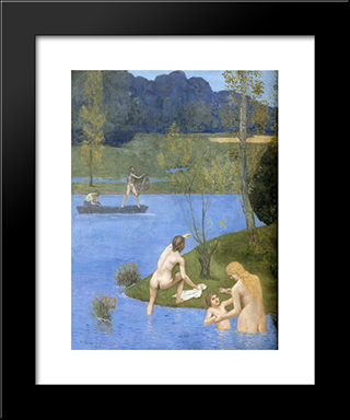 Summer (Detail): Modern Black Framed Art Print by Pierre Puvis de Chavannes