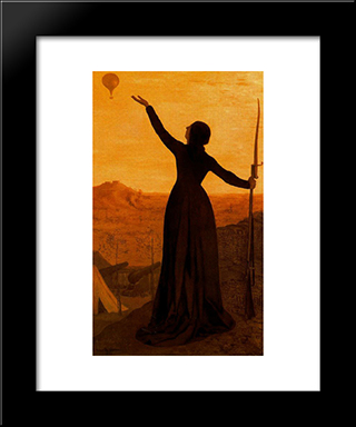 The Balloon: Modern Black Framed Art Print by Pierre Puvis de Chavannes