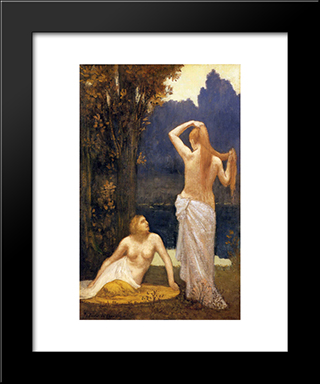 The Bathers: Modern Black Framed Art Print by Pierre Puvis de Chavannes