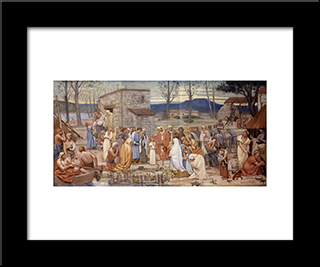 The Childhood Of Saint Genevieve: Modern Black Framed Art Print by Pierre Puvis de Chavannes