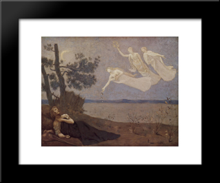 The Dream In His Sleep He Saw Love, Glory And Wealth Appear To Him: Modern Black Framed Art Print by Pierre Puvis de Chavannes