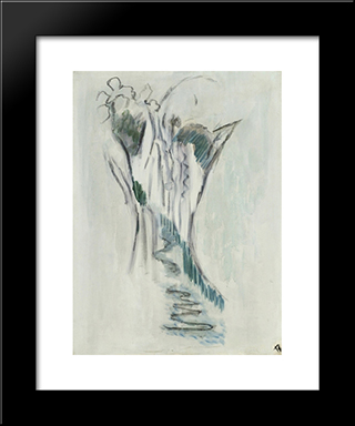 Cascade (Eau Coulant Entre Rochers): Modern Black Framed Art Print by Pierre Tal Coat