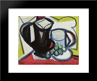 Nature Morte Au Pichet Et Raisins: Modern Black Framed Art Print by Pierre Tal Coat