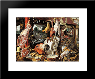 Butcher'S Stall With The Flight Into Egypt: Modern Black Framed Art Print by Pieter Aertsen