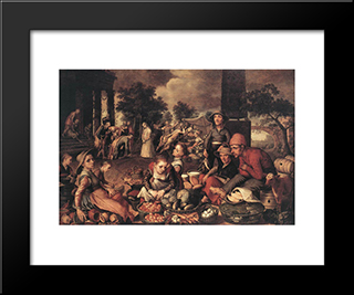 Christ And The Adulteress: Modern Black Framed Art Print by Pieter Aertsen
