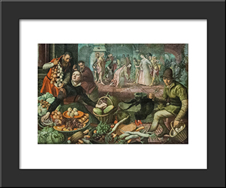 Christ And The Woman Taken In Adultery: Modern Black Framed Art Print by Pieter Aertsen