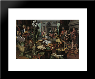 Christ In The House Of Martha And Mary: Modern Black Framed Art Print by Pieter Aertsen