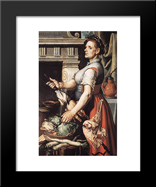 Cook In Front Of The Stove: Modern Black Framed Art Print by Pieter Aertsen